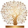 Stock Vector: Vector gold tree