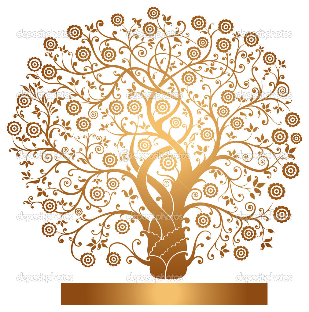 Beautiful vector gold tree  Stock Vector #5653189