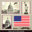 Vector set of USA symbols - Stock Vector