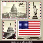 Vector set of USA symbols — Stock Vector