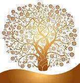 Vector gold tree — Stock Vector