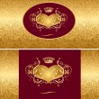 Holiday background with gold heart - Stock Vector