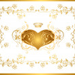 Stock Vector: Holiday background with gold heart