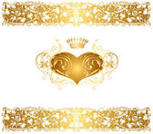 Holiday background with gold heart — Stock Vector