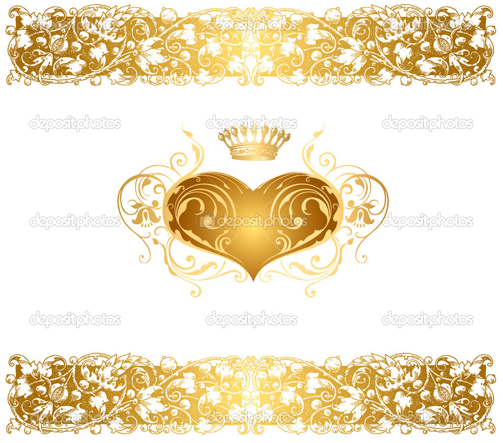 Holiday vector background with gold heart — Stock Vector #5963445