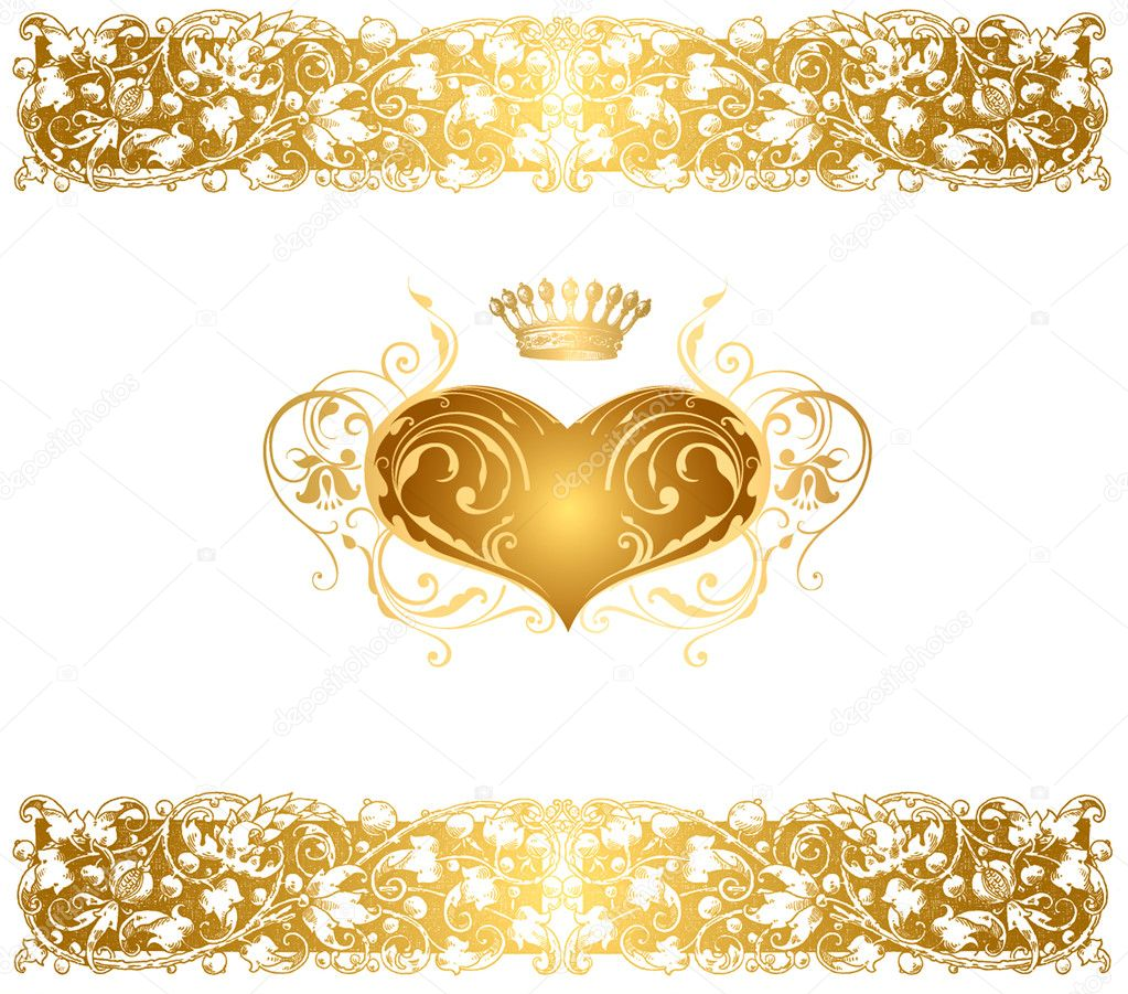 Holiday vector background with gold heart — Image vectorielle #5963445