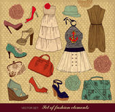 Set of female fashion accessories — Stockvector