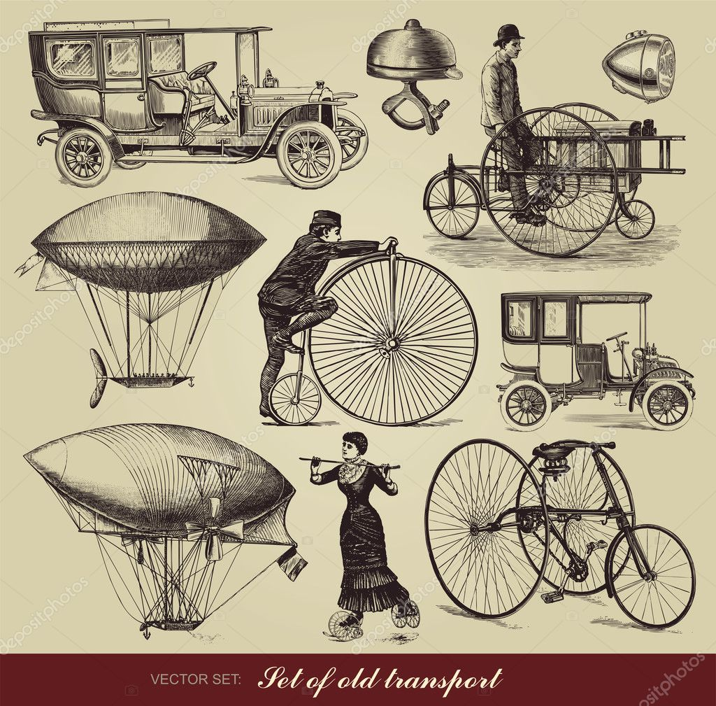 Vector set of old transport  — Stock Vector #6276724