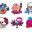 Icons with skulls — Stock Vector