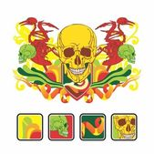 Interesting composition with a human skull — Stock Vector