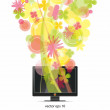 Flowers emerge from monitor — Stock Vector #6682361