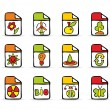 Painted square natural icons — Stock Vector
