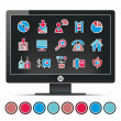 Royalty-Free Stock Vector Image: Monitor office icons