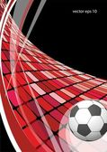 Soccer ball in the red wave — Vector de stock