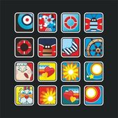 Square nautical icons — Stock Vector