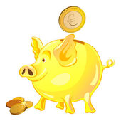 Vector pig-piggy bank with gold coins — Stock Vector