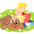 Vector of the elder brother is reading a book to his younger bro — Stock Vector