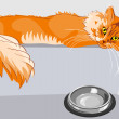 Vector red fluffy tabby cat with yellow eyes - Stock Vector