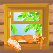Vector red cat on a summer day lying on the windowsill — Stock Vector