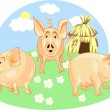 Vector three little pigs — Stock Vector