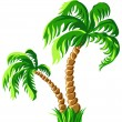 Vector two palm trees isolated on a white background — Stock Vector