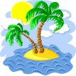 Vector two palm trees on an island in the ocean at noon — Stock Vector