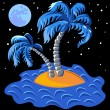 Vector two palm trees on an island in the ocean at midnight — Stockvectorbeeld