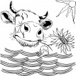 Stock Vector: Vector funny cow chewing flower