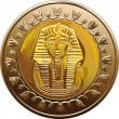 Vector Egyptian coin featuring Pharaoh - Stock Vector