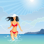Vector brunette Girl and the Sea — Stock Vector