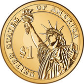 Vector American gold coin one dollar — Stock Vector