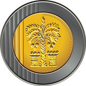 Vector Israeli shekel coin with the image of the date palm — Stock Vector