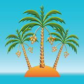 Vector three date palm trees on an island in the ocean — Stock Vector