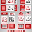 Set of red vector sale tickets and labels — Stock Vector