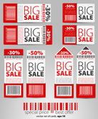 Kırmızı vektör satış biletleri ve etiketlerini — Stok Vektör