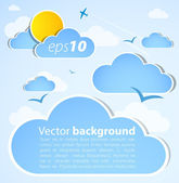 Good weather background. Blue sky with clouds — Vector de stock