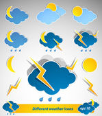 Set of different weather icons — Stock Vector