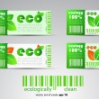 set of color vector eco tickets — Stock Vector