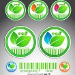 Set of color green vector eco stickers — Stock Vector
