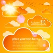 Abstract autumn sky with clouds and sun - Stock Vector