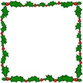 Christmas holly border frame — Vettoriale Stock