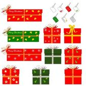 Christmas gift boxes & blank labels — Stock Vector