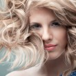 Fashion portrait curly blonde - Stock Photo