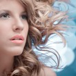 Pink lips curly blonde wind — Stock Photo
