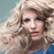 Fashion portrait curly blonde — Stock Photo