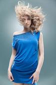 Fashion portrait curly blonde — Stock Photo