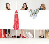 Girls exchanging clothes store wordrobe — Stock Photo