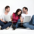 Funny friends with laptops — Stock Photo #5803362