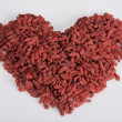 Heart shaped goji — Stock Photo