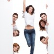 Happy woman and friends advertising — Stock Photo